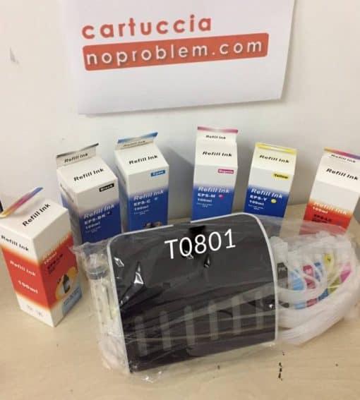 KIT IN CONTINUO PER EPSON T801 + 600ML INCHIOSTRO